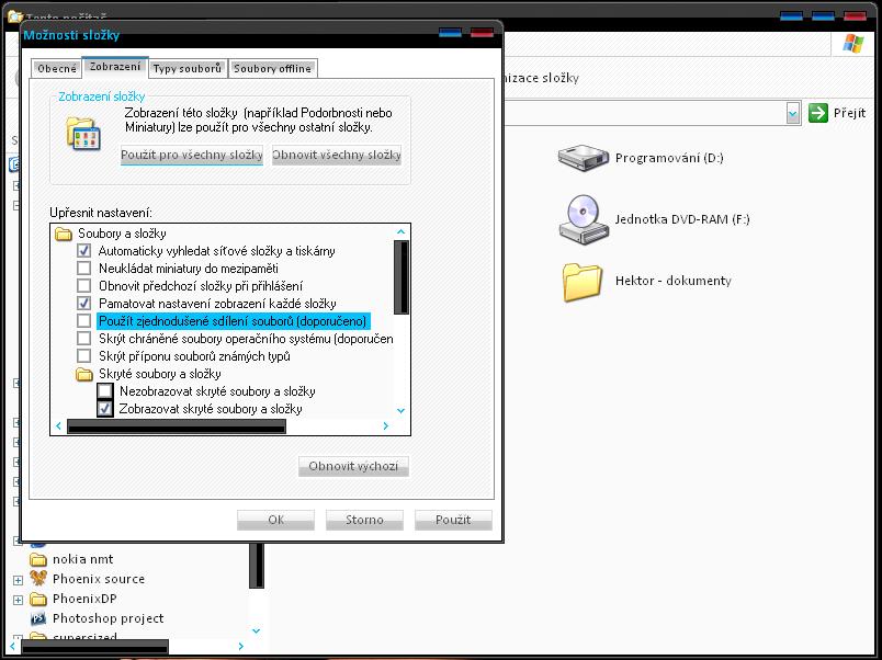 Zobrazení / Použít zjednodušené sdílení souborů (doporučené)